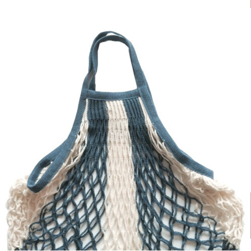 French Cotton Medium Net Bag (Indigo Blue + Ecru, Medium Short-handle)