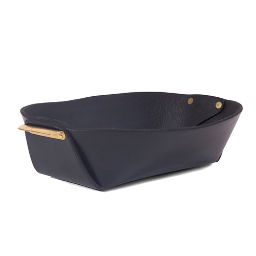 Leather and Brass Basket (BLACK)