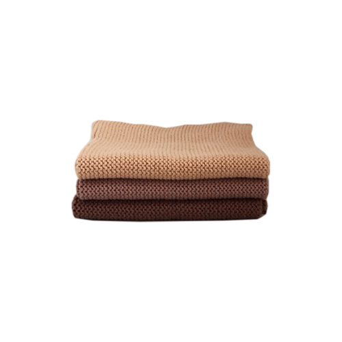 Knitted Cotton Dish Cloth (Brown Mix)