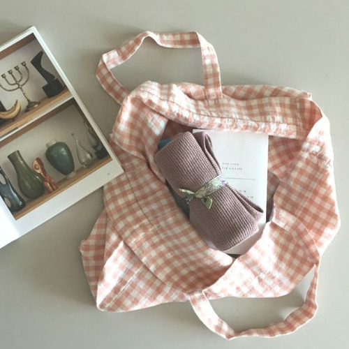 French Linen SIMPLE Bag (Copper Gingham) 미듐숄더 추가