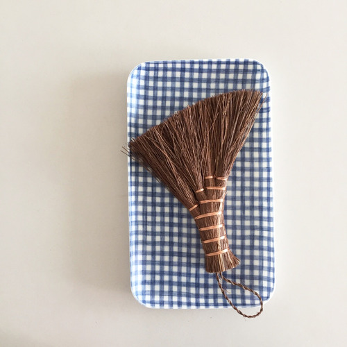Linen Coating Rectangular Tray (Blue Gingham,S)