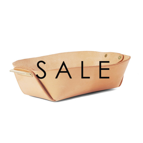 [SALE] Leather and Brass Basket (NATURAL)