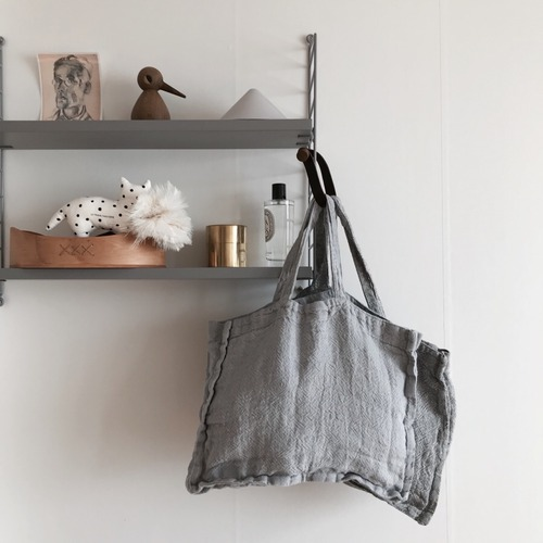 French Heavy Linen Bag (Sky Grey)