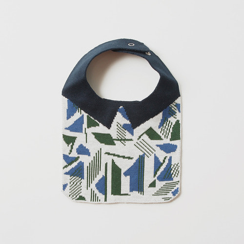 TRICOTÉ Knitted Bib (Geometric Blue)