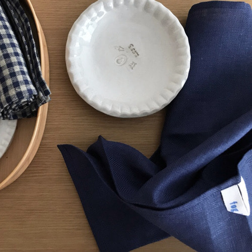 Linen Kitchen Cloth (Deep Blue Herringbone)