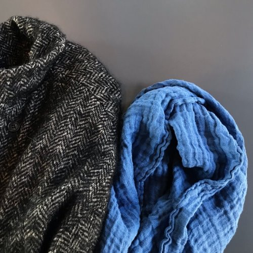 French Linen Scarf (Atlantic Blue)