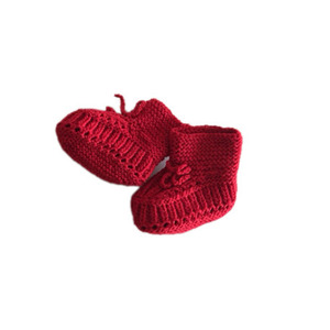 Knitted Baby Shoes (Red Wool)