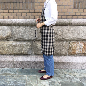 [재입고] Fog Linen Daily Apron (Natural + Black Check)