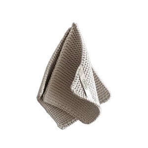 Knitted Cotton Potholders Set (Warm Grey)