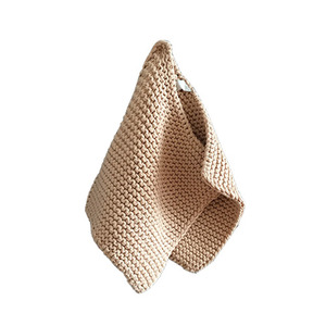 Knitted Cotton Potholders Set (Apricot)