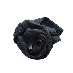 French Linen Scarf (BLACK)