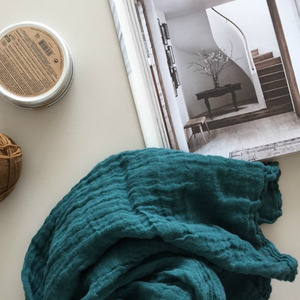 French Heavy Linen Scarf (Antique Green)