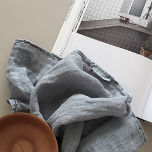 재입고 French Linen Scarf (Simple Line/ Blue Grey)