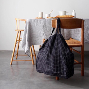 French Linen Tote Bag (Black + White Small Checks)