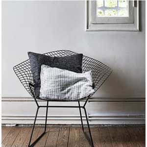 French Linen Cushion (White + Black Small Checks)