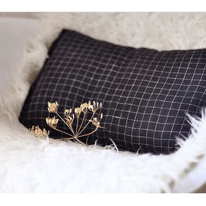 French Linen Cushion (Black Checks)