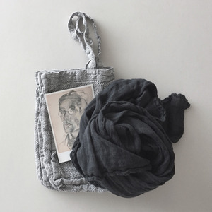 French Linen Medium Shoulder Bag (Melange Grey, Heavy Line)