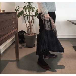 [재입고] French Linen Tote Bag (Black + White Small Checks)