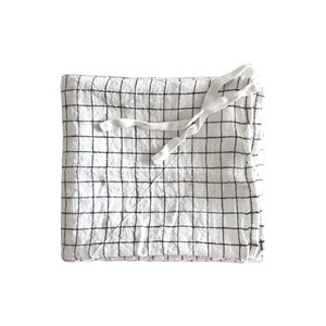 French Linen Kitchen Cloth (White + Black Checks)