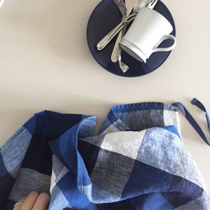 French Linen Kitchen Cloth (Blue Tile)
