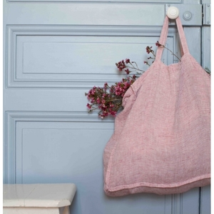 French Linen Seersucker Tote Bag (Red+White Stripe)(2 size)