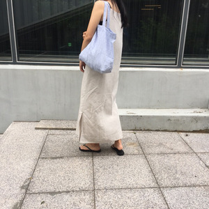 French Linen SIMPLE Bag (Thin Blue Stripe)
