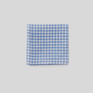 Linen Handkerchief (White+Blue Check)