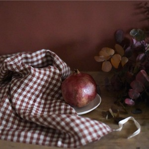 French Linen Kitchen Cloth (Dark Old Orange Gingham)
