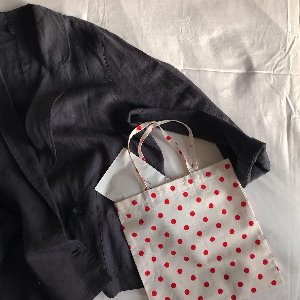 BLOMMA Petite Square Tote Bag (Red Dots)