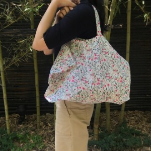 French Linen Pink Flower Medium Tote Bag