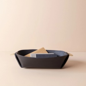 Leather Basket with Brass Handle (BLACK)