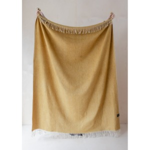 Recycled Wool Blanket in Herringbone (Mustard)