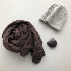 French Heavy Linen Scarf (DARK BROWN)
