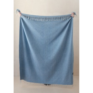 Recycled Wool Blanket in Herringbone (Sky Blue)