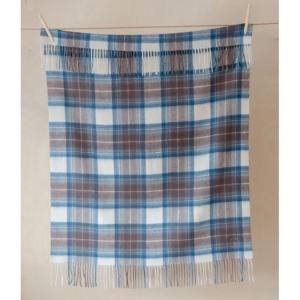 Pure Lambswool Kids Blanket (Blue & Brown Tartan Check)