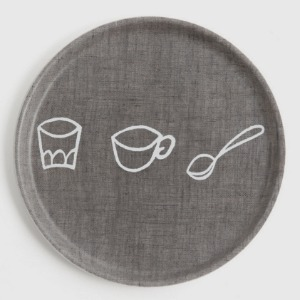 Fog Linen Coated Round Tray