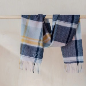 Pure Lambswool Kids Scarf (Multi Check Dusky Pink & Navy)