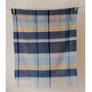 Pure Lambswool Kids Blanket (Dusty Pink & Navy)