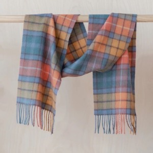 Pure Lambswool Kids Scarf (Orange Tartan Check)
