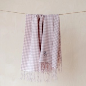 Pure Lambswool Kids Blanket (Dusty Pink Gingham Check)