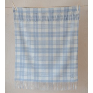 Pure Lambswool Kids Blanket (Powder Blue Check)