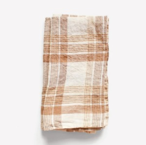 French Linen Kitchen Cloth (Caramel Checks)