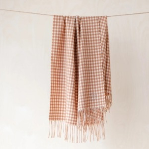 Pure Lambswool Kids Blanket (Cinnamon Gingham Check)