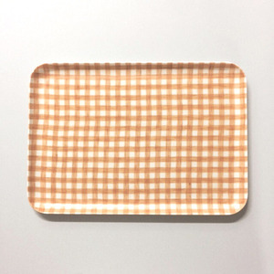 Linen Coating Rectangular Tray (Yellow Check, M)