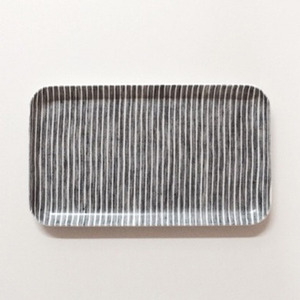 [재입고] Linen Coating Rectangular Tray (DarkGrey Stripe, S)