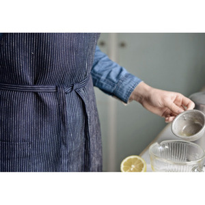 Fog Linen Daily Apron (Navy Pin Stripe)