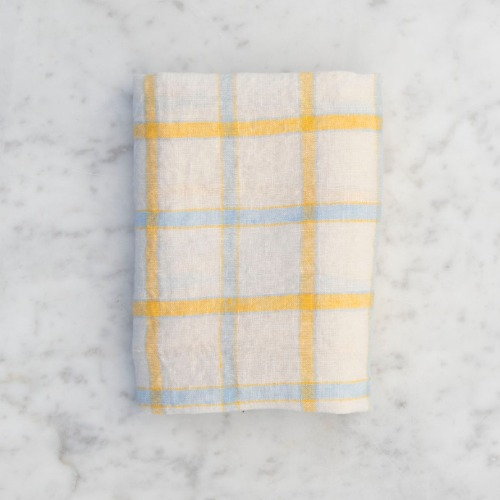 French Linen Kitchen Cloth (Yellow + Blue Check)