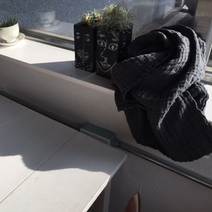 French Heavy Linen Scarf (BLACK)