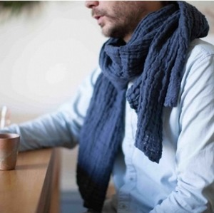 French Heavy Linen Scarf (MIDNIGHT BLUE)
