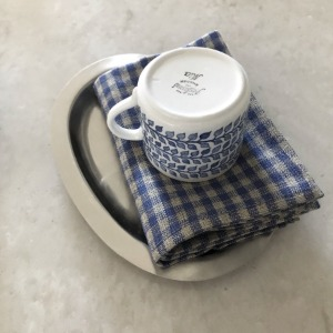 Thick Linen Kitchen Cloth (Natural & Blue Check)